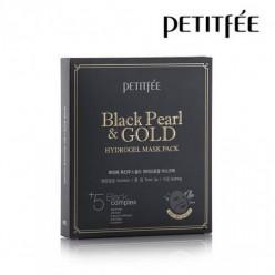 Гидрогелевая маска с золотом и черным жемчугом для лица «PETITFEE Black Pearl, 5 шт